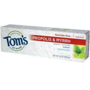 Tom's Of Maine Spearmint Fluoride Free with Propolis & Myrrh Toothpaste (6x5.5 Oz)