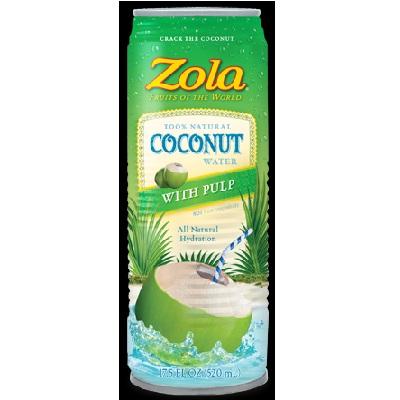 Zola Brazilian Fruits Nat Coconut Water W/Pulp (12x17.5OZ )